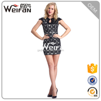 2016 summer ladies capsleeve black micro mini sexy dresses
