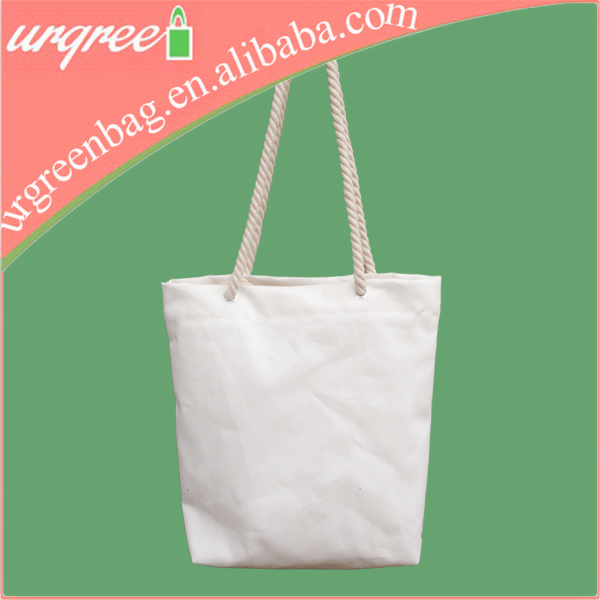 Standard Size Zippered Canvas Tote Bag With Rope Handle