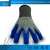 QL working safety glass handling knitted hand gloves