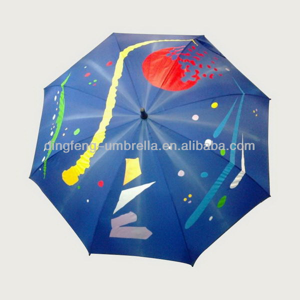 Promotional trendy offset printing cane umbrella