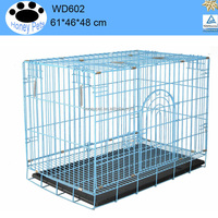 "1-2 Door Black/Blue 24"" Folding metal dog kennels and runs for sale"