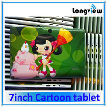 Fashion cartoon case dual core android 7inch child Tablet pc with WIFI front/rear cameras