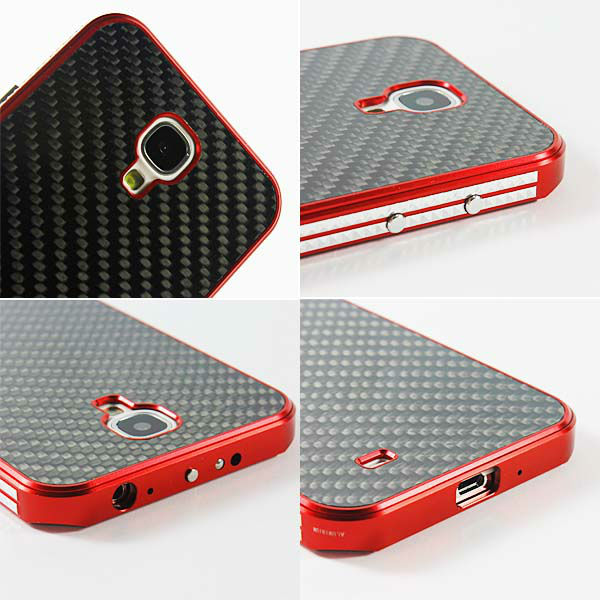 Aluminum Metal Bumper cell phone case For HTC ONE M7 With Carbon Fiber Back Plate