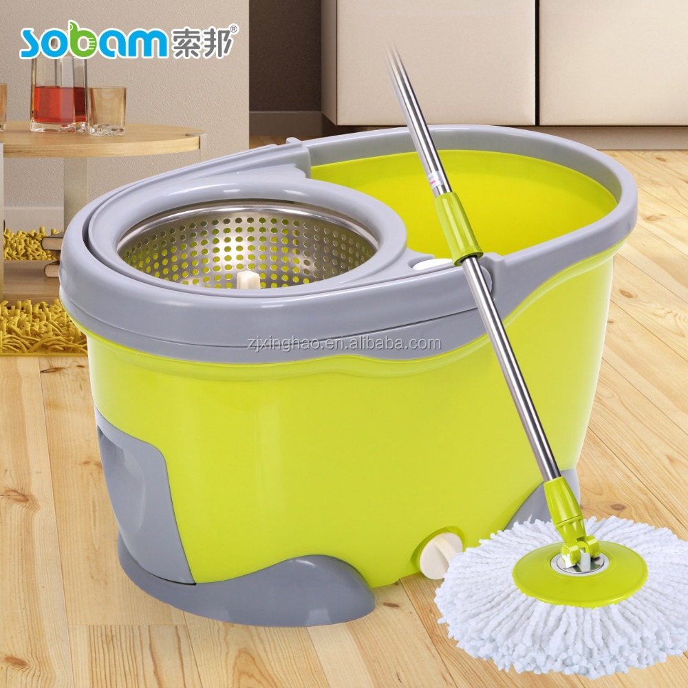 2016 new dolphin series stainless steel basket microfiber spin mop