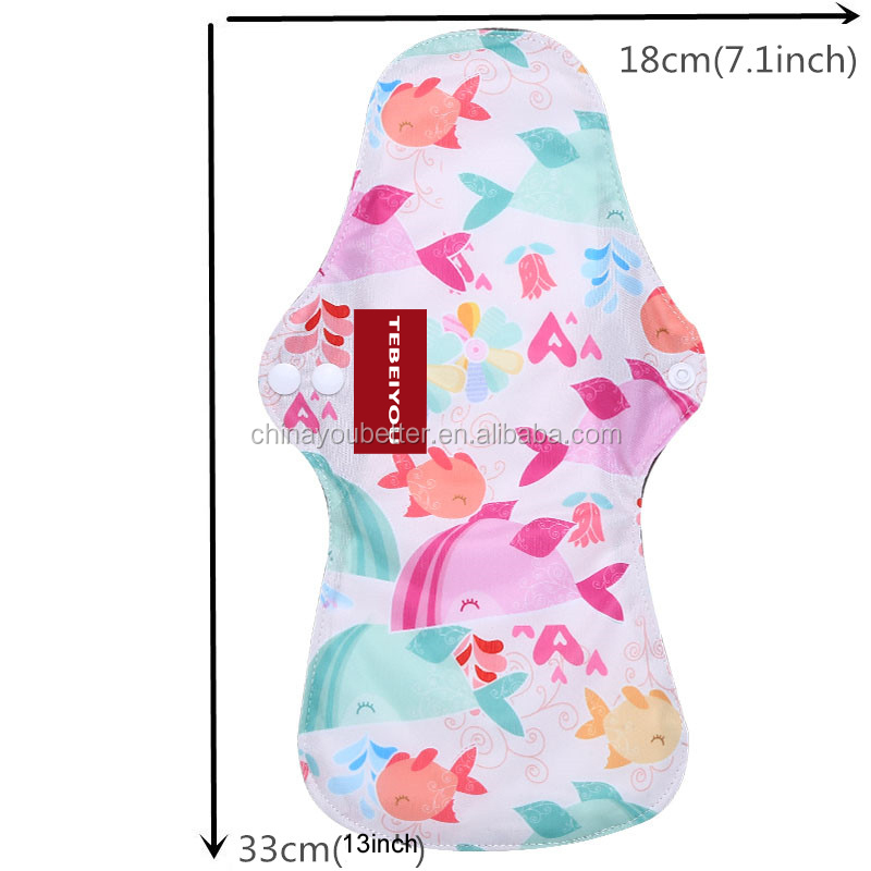 Bamboo charcoal inner washable reusable menstrual pads sanitary Pads