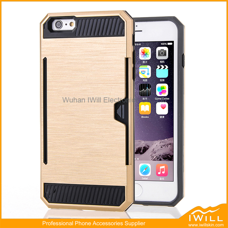 For iphone 6 Card Slot Case , Popular fashion Case Hybiard Armor Cover For iphone 6S Smart Shell