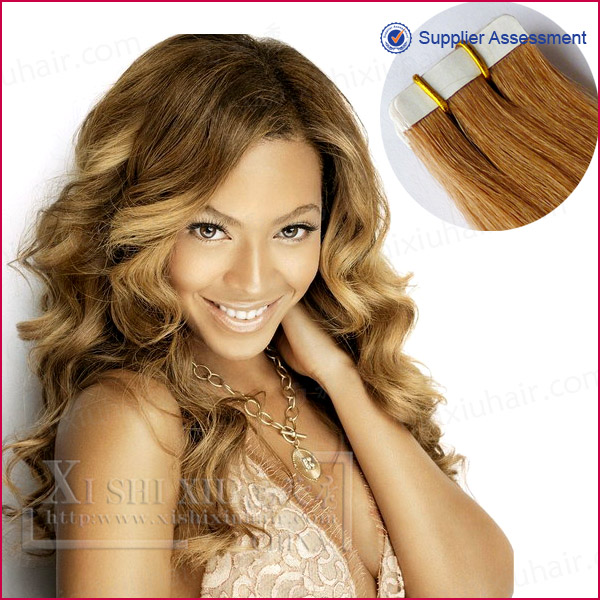 Wholesale factory cheap price blonde color 613 Indian virgin remy human hair PU Skin weft double sided tape hair