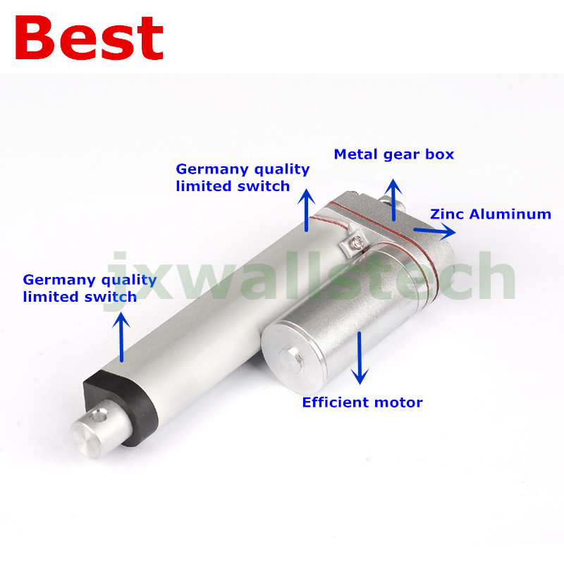 12V linear actuator 10mm/s speed 50mm 2inch stroke 1000N 100KG 220LB force LA10Y