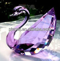 Purple Crystal Swan Figurine For Wedding Gifts