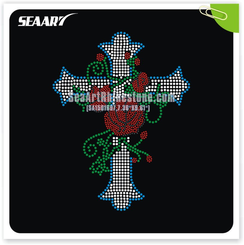 hot fix rhinestone cross iron on transfer