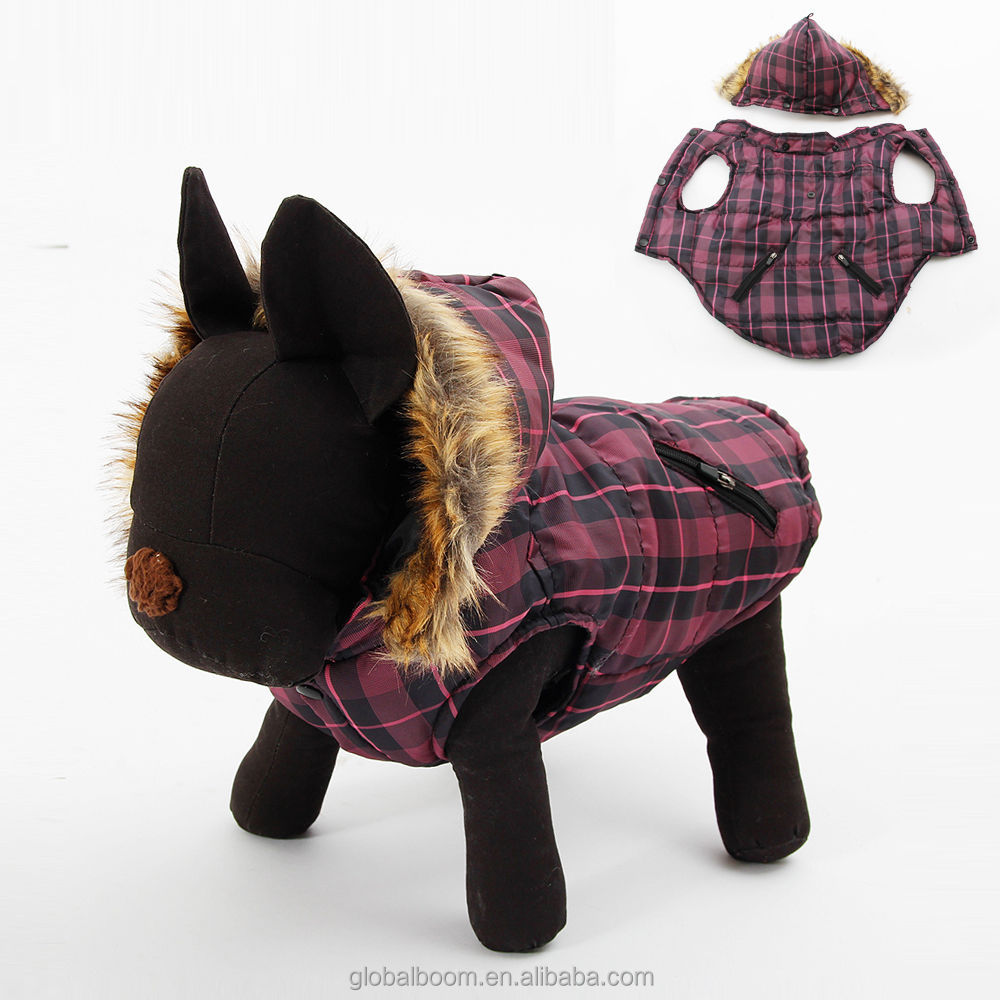 Purple Grid Fur Collar Hoodie warm jacket dog clothes for winter waterproof clothing