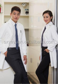 Custom fabrics breathes doctor long sleeve white coat hospital uniform