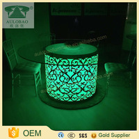 New product led glass lighted glowing round center table
