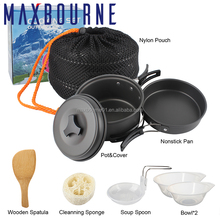 Amazon Hot Selling Outdoor Family Portable Camping Bowl Pot Pan Set Camping Cookware Mess Kit Set for 1-2 Persons