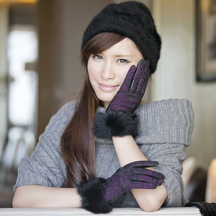 Romantic Ladies Lace Sheep Leather Gloves with Rabbit Fur Cuff