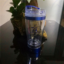 600ml blue metal protein shaker cup plastic shaker bottle Integrated Storage with battery