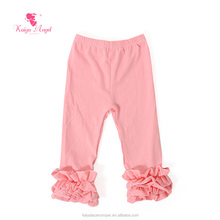 Solid color cotton plain leggings with ruffle