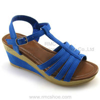 RMC blue ankle fancy lady wedge shoes heel