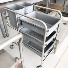 Dirty Collecting Stainless Steel Restaurant Service Kitchen Cart/Kitchen Trolley With Wheels/Hotel Cart