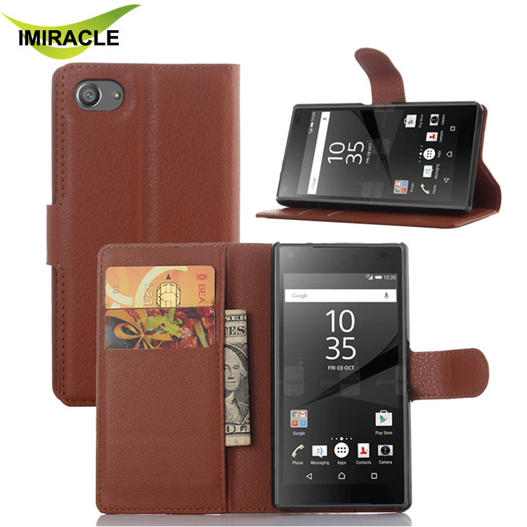 Litchi Skin Wallet Stand Leather Case Cover For Sony Xperia Z5 Compact Phone Case