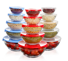 5 pcs/Set Heat Resistant Clear Glass Salad Bowl With Lid