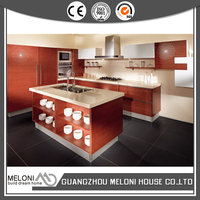 natural ork wood veneer kitchen cabinet with island for home