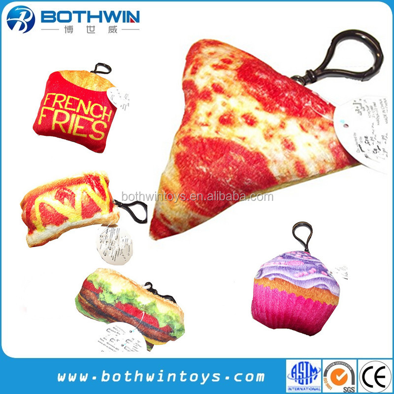 Plush Food Pizza Chips Donut Hot Dog Sandwich Cake Keychains Keyrings