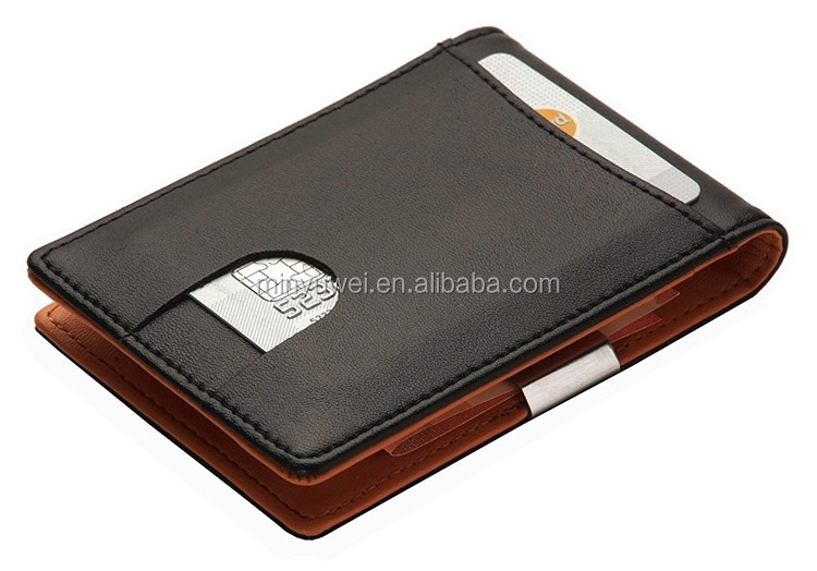 real leather wallet with stainless steel money clip credit card holder leather money clip wholesale