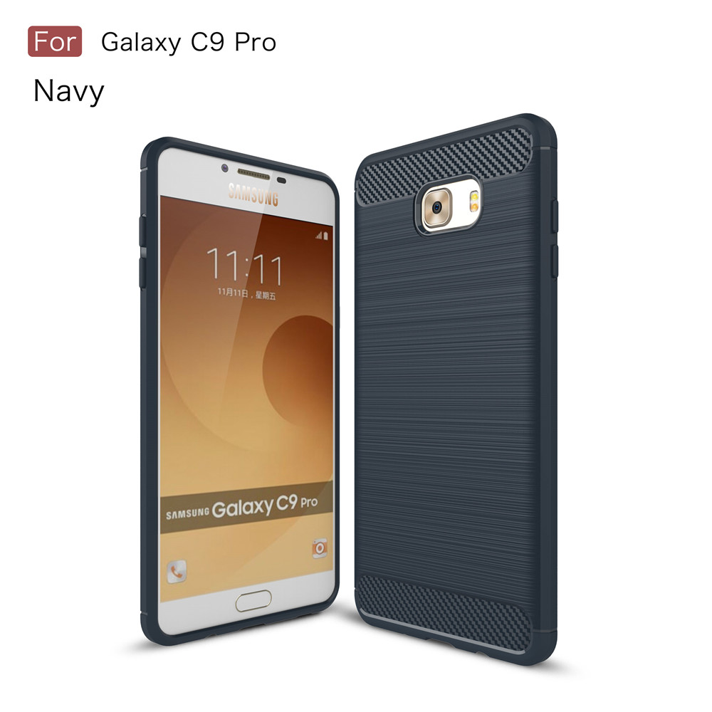 Carbon fiber TPU brushed case for Samsung Galaxy C9 Pro