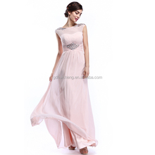 elagant cap Sleeve Long puffy chiffon prom dress