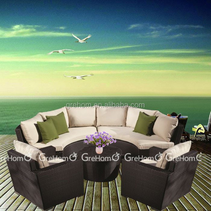 Patio Outdoor Furniture/Rattan Garden Sofa/Half Round Sofa