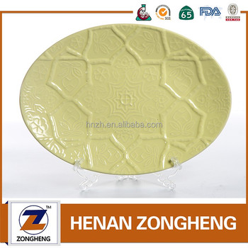 embossing fish design custom oval wholesale stoneware dinner plate sets
