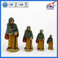 Chinese Factory Direct Nativity Village Collectible ,Abraham the Old Villager,Polyresin Old Men with Walking Stick