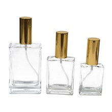 15ml 30 ml 30ml 50ml 100ml refillable Square clear perfume spray glass bottle with gold aluminum sprayer head and cap