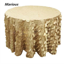 Marious Fancy elegant Banquet Table cloth Ruffled Taffeta Wafer Shape Table Cloth For Wedding