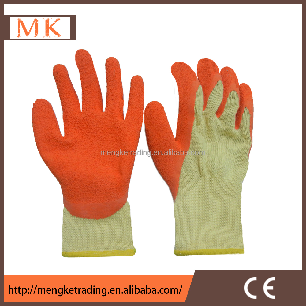 10g polycotton work gloves,palm and thumb dipped latex gloves
