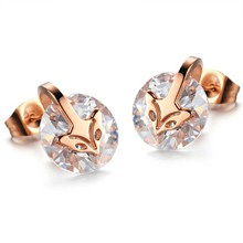 Marlary New Design Korean Style Earrings Stud Stainless Steel and Diamond Zircon Earrings