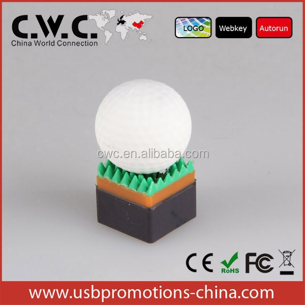 new design golf shape pvc usb flash drive