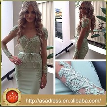SPD07 Light Green Long Mesh Sleeve Formal Party Gown Sheath V Neck 2015 Prom Dresses with Sash