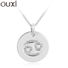 OUXI fashion constellation series crystal Cancer hang tag jewelry/alloy rhodium plated necklace 10739