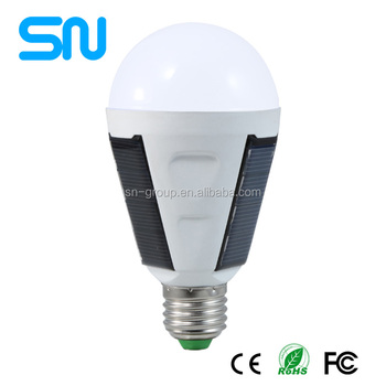 2017 new design 7w Solar rechargeable led emergency bulb lighting e27 with Salor panel