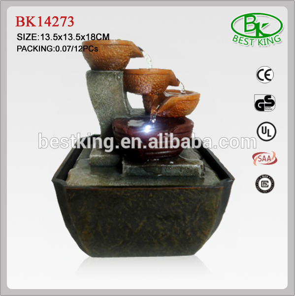 Polyresin mini water fountains with light