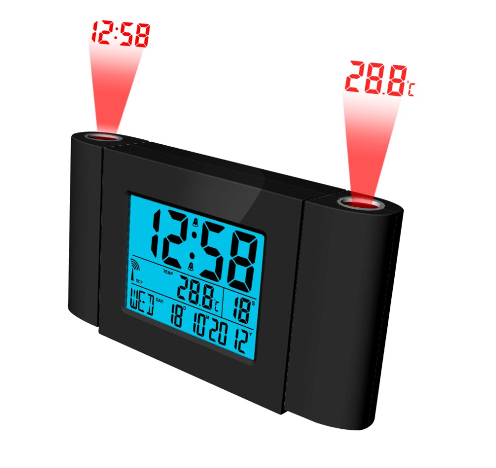 LCD RC dual projection clock, digital radio controlled table clock