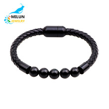 Magnetic buckle natrual stone beads 7 chakra leather bracelet men