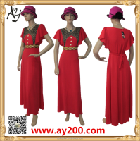 Hot Elegant ladies western Casual Short Sleeve chiffon long maxi Dress