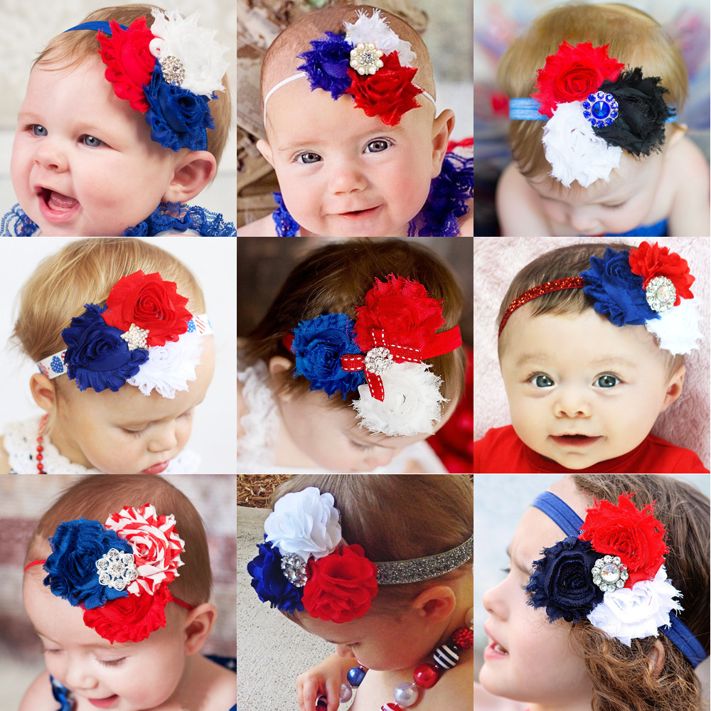 Flag Days Baby Headband Royal With Red With White Foe Headband For Lovely Girls Wholesale Hair Accessories