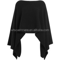 NEW YORK ladies hot sale knitted Poncho black 100% cashmere poncho women