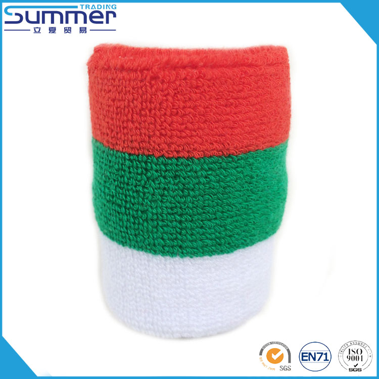 Unisex Red Green White Stripe Color Sweat Band Sport Custom Cotton Wrist Band Tennis Sweatband