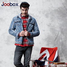 JOOBOX mens jeans jacket men denim bomber coat men winter jacket with hood