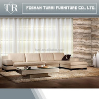 Luxury quality genuine leather living room corner sofa with chaise lounge
